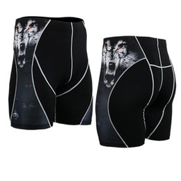 Wholesale Mma Shorts For Men - Wholesale-4 Way Stretch 3D Prints Compression Shorts for Men Quick Dry Breathable Sweat Short Rashguard MMA Weightlifting Mens Shorts
