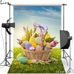 Wholesale Vinyl Backdrops For Photography Baby - 5x7ft Happy Easter Vinyl Photography Background For Baby Colorful Eggs Oxford Backdrop For photo studio Props 239