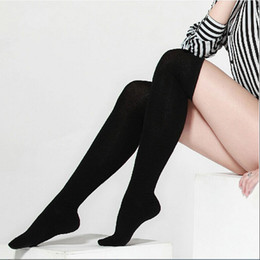 Wholesale Thigh High Socks Sales - Wholesale- 2016 Hot Sale 1 Pair Women Girl Autumn Thigh Knee High Stockings Black Long Cotton Stocking Leg Warmer B2