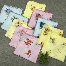 Wholesale Vintage Child Hanky - 50Pcs Set Lot Cutter Ladies Vintage Cotton Hanky Floral Handkerchief Hot New 30x30CM