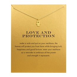 Wholesale Hand Heart Necklace - Dogeared Hamsa Charm Necklace ( Love and Protection) Heart Cut Off Hand Pendant Necklaces Clavicle Chains necklace Fashion Women Jewelry