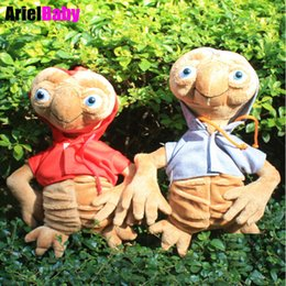 Wholesale Alien Comic - OHMETOY 2PCS ET Extra Terrestrial Alien Soft Stuffed Plush Doll Hoodie Anime Cartoon Kids Toys Red Gray 25-30cm Collection