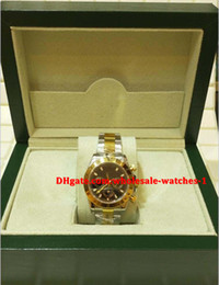 Wholesale Two Tone Luxury Watches - Christmas gift swiss Luxury watches top brand Automatic Mens Watch Two Tone Gold BLACK DIAL Stainless Steel 18K Yellow Gold 116523
