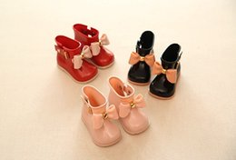 Wholesale Kids Girls Rain Boots - HOT Sale!!!2017 Kids Spring Autumn baby girls Rain Boots Warm Beauty Bow Rainboots Fashion Rubber Shoes Toddler Kids Jelly shoes