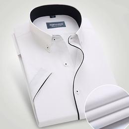 Wholesale Black Lotus Clothing - Wholesale- Port&Lotus Men Dress Shirts Short Sleeve Solid Color With Black Line Turn Down Collar Mens Clothing Camisa Wholesale