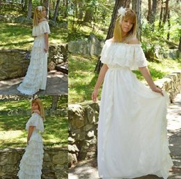 Wholesale Boho Gypsy Maxi Dress - Vintage Lace Ivory Bohemian Wedding Dresses Off the Shoulder Cacading Ruffle Hippie Wedding Gowns Maxi Gypsy Girl Boho Bridal Dress