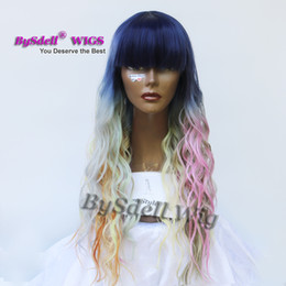 Wholesale Dark Blue Hair Color - Mermaid Rainbow Color Hair Wig Synthetic Dark Blue Root Ombre Pink  grey  purple green  yellow Color Wig with neat Bang Mermaid Cosplay wigs