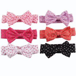 Wholesale Girl Fabric Flower Hairband - Dot Turban Headband With Big Hair Bow Knot Headwrap Korean Cotten Fabric Flower Hairband For Girl Kid