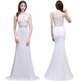 Wholesale Cheap Boho Dresses - 2017 Gorgeous Boho Lace Backless Mermaid Wedding Dresses Elegant Sheer High Cheap Under $40 Bridal Gowns Robe de mariage CPS502