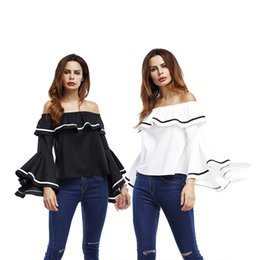 Wholesale White Ruffled Blouses For Women - made in china chic style black and white slash neck off shoulder long sleeve blouse for fashion women