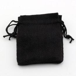 sacchetto di juta nero Sconti Caldo ! 50pcs 10x14 cm tessuto in lino nero sacchetti con coulisse sacchetti di gioielli regalo di caramelle di tela da imballaggio borse di iuta