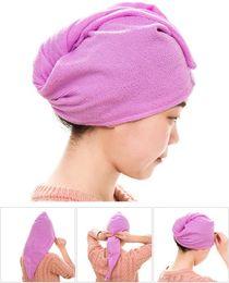 Wholesale Dry Hair Hat - Magic Quick-Dry Microfiber Hair Towel Hair-drying Ponytail Holder Cap Towel Lady Microfiber Hair Towel hat cap High quality