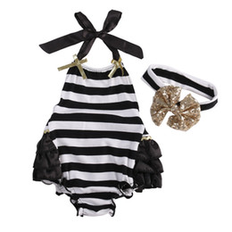 Wholesale Toddler Winter One Piece - Wholesale- Hot Sell 2016 Summer Toddler Baby Girl Outfits Clothes One-pieces Stripe Girls Bodysuit+Bow Headband Kids Girls Outfit Set
