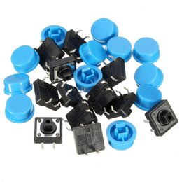 Wholesale Electronic Field - 20pcs 4Pin Blue Tactile Push Button Switch Momentary Tact Caps Used in the Fields of Electronic Products Waterproof Favorable