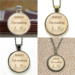 Wholesale reading glasses round - 10pcs Shh I'm Reading Round Pendant Book Lover Gift Librarian heart Glass Photo Necklace keyring bookmark cufflink earring bracelet