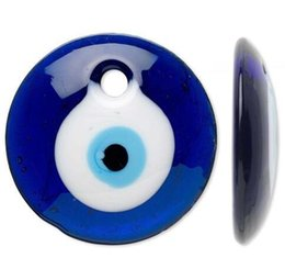 Wholesale Evil Eye Glass Bead - 30mm Big Round Blue And White Evil Eye Lampwork Glass Focal Charms Pendants For Bracelet Jewelry Findings Making Gifts Accessories 10PCS