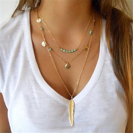Wholesale Turquoise Gold Pendant Necklace - Wholesale-Turquoise bead necklace chocker coin feather necklace women accessories jewlery 2016 gold chain multi layer necklace jewellery