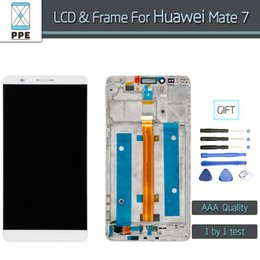 """Wholesale Iphone Screen Replacement Colors - Wholesale- Tested LCD For Huawei Mate 7 mate7 MT7 LCD display+Touch screen digitizer with Frame Assembly 6"""" pantalla Replacement 3 Colors"""