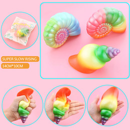 Wholesale Soft Toys For Kids - 2017 New Kawaii Jumbo Rainbow Conch Squishy Slow Rising Colorful Shell Soft Squeeze Cream Scented Bread Cake Strap Kid Fun Toy Gift