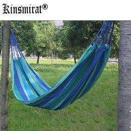 Wholesale Outdoor Children Swings - Wholesale- Portable 190 x 80cm Outdoor Hammock Outdoor Sports Sleeping Bag Travel Camping Swing Canvas Stripe Hang Bed