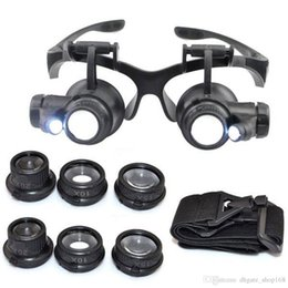 Wholesale watch repair glasses - Hot 10X 15X 20X 25X magnifying Glass Double LED Lights Eye Glasses Lens Magnifier Loupe Jeweler Watch Repair Tools