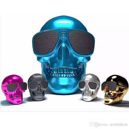 Wholesale Head Mp3 Player - Super Skull Head bluetooth speaker Outdoor portable speaker wireless mini speaker Mega Bass 3D Hand-free Audio Player
