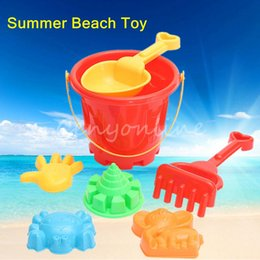 Wholesale Plastic Bucket Beach Toys - Wholesale- 7 pcs set Winter Summer Seaside Beach Toy Child Spade Rake Bucket Kit Sand Snow Building Molds Funny Gift for kids Childrens