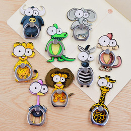 Wholesale Cute Phone Holders - Universal 360 Degree Cute Cartoon Animal Finger Ring Holder Phone Stand For iPhone 7 6s Samsung For Mobile Phones