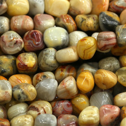 """Wholesale Natural Lace Agate - Discount Wholesale Natural Genuine Yellow Crazy Lace Agate Nugget Loose Beads Free Form Beads 3-12mm Fit Jewelry 15.5"""" 03853"""