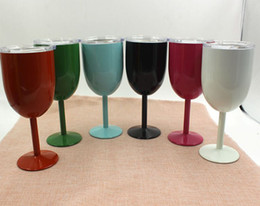 Wholesale Colored Glass Mugs - 2017 Kitchen Cups Colored Wine Glasses Stainless Steel Tumber 10oz Double Wall Insulated Metal Goblet With Lid Tumbler Mugs