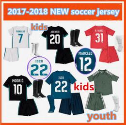 Wholesale Soccer Jersey Goalkeeper - kids kit 2017 RONALDO home Away 3RD soccer jersey 17 18 MODRIC BENZEMA BALE ASENSIO RAMOS MORATA ISCO goalkeeper Football Shirt