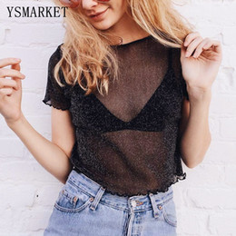 Wholesale Shining Woman Shorts - 2017 New Glitter Sheer Mesh Top Womens Short Sleeve Casual Perspective Hollow Out Female Top Tee Sexy Shine Basic T shirts S1232