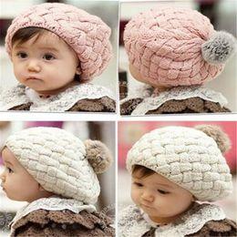 Wholesale Toddler Boys Beret - Toddler Knit Hat Kids Girls Baby Handmade Crochet Knitting Beret Hat Beanie Baby Fashion Cute Cap Kids Warm Beanie DHL Free