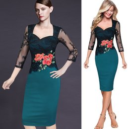 Wholesale Silk Embroidered Pictures - Women Embroidered Floral See Through Lace Party Evening Bridemaid Mother of Bride Special Occasion Embroidery Dress