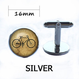 Wholesale Antique Shirt - Vintage Brand Bicycle Cufflinks Antique Silver Plated Bike Cabochon Shirt Cuff Links Wedding Accessories Mens Kids Jewelry Gift