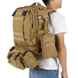 Wholesale Survival Backpacks - 50L Outdoor Backpack Molle 600D Nylon Waterproof Assault Army Military Tactical Rucksacks Travel Camping Hiking Survival Bags