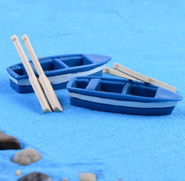 Wholesale Doll Boat - 30sets MOQ mini handmade home garden decoration boat fairy miniature for housing or flower pot landscape doll house decoration wholesale
