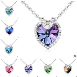 Wholesale Cheap Heart Shaped Pendants - Necklace Women 2017 Fashion Crystal Heart-shaped Necklaces Female Jewelry Cheap Necklace Pendants High Heart of Ocean Free Shipping