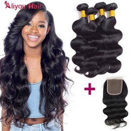 Wholesale Best Hair Weaves - Best Sale 4 Bundles with 4X4 Lace Closure Brazilian Body Wave Human Hair Weave Bundles Peruvian Malaysian Remy Hair Extensions New Arrival