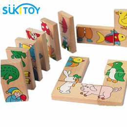 Wholesale Animal Dominoes - Wholesale- SUKIToy Kid's Soft Montessori Wooden Puzzle Toy Set 15pcs Animal Domino Puzzle high quality gift for infant WD084