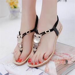 Wholesale Owl Shoes - Owl Rhinestone Flat Flip Flops 2017 Bohemia Beach Gladiator Woman Thong Sandals Summer Women Shoes Size 36-42 Shoes Woman Shoes +B