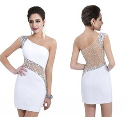 Wholesale One Shoulder Draped White Dresses - 2017 Cheap In Stock Homecoming Dresses 2016 White One Shoulder Sheer Beaded Sequins Short Party Dresses Sexy Mini Prom Gowns
