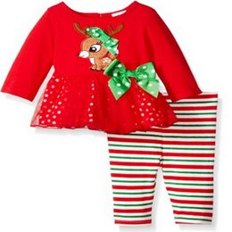 Wholesale 12 Months Girl Red Dress - Christmas Girls Outfits Sets Cartoon Long Sleeve Bowknot Gauze Dress Deer Tops + Striped Pants Tights 2pcs Set Xmas Clothes Suits Red A7178