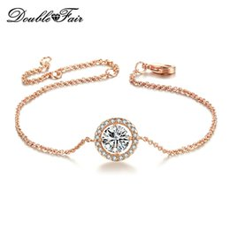 Wholesale Genuine Cz - AAA CZ Simple Imitation Gemstone 18K Platinum Plated Bracelet Jewelry Made with Genuine Austrian Crystals Wholesale DFH101   H165
