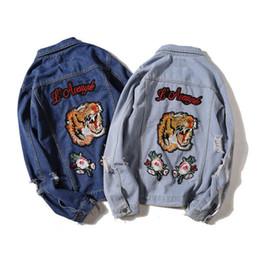 Wholesale Wear Jeans - Men's Jeans Jacket Navy Blue Coat Tigers Embroidery Japanese Vintage Old Cave Denim Jacket Men & Women Wild Jacket Baseball Wear