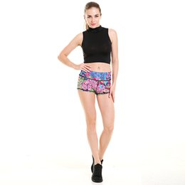 Wholesale Wholesale Colored Skinny Pants - DHL freeship women summer yoga shorts Colored peacock feather printing super soft elastic sport pants Slim fitness run jogging wicking pants