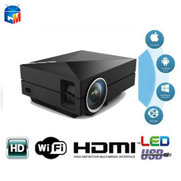 Wholesale vga led - Wholesale-Hot selling GM60A MINI LED 1080P Projector Support Airplay with HDMI AV SD VGA For Games Movie Home Theater