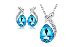 Wholesale Neckline Jewelry - Crystal neckline pendant and earrings Jewelry suit Jewellery 2018 Necklace Women Fashion Jewelry Wholesale