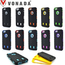 Wholesale Heavy Duty Mobile - Tire Pattern Rugged Hybrid Heavy Duty Shockproof Mobile Phone Case Cover For touch 5 6 iPhone 4S 5 5C SE 6 6 Plus