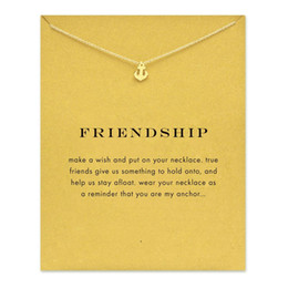 Wholesale Gold Anchor Necklaces For Women - Sparkling friendship Anchor gold color plated Pendant necklace Clavicle Chains Fashion Statement Necklace For Women Jewelry